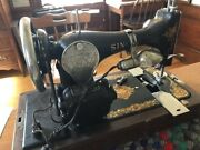 Antique Electric Singer Sewing Machine In Case With Key Serial G9222038