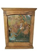 Rare Antique 1890s Diamond Dye Oak And Tin Litho Display Cabinet Store Advertising