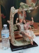 Giuseppe Armani Unknown Couple On Swing Figurines On Wood Base Made In Italy