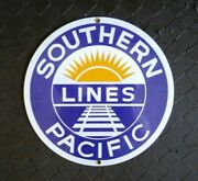 Southern Pacific Lines Porcelain-coated Ande Rooney Railroad Sign Rr Train
