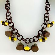 Brown And Yellow Charms Bakelite Necklace On Brown Celluloid Chain,one Of A Kind