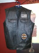Genuine Barneys Menand039s Leather Motorcycle Vest Large Harley Davidson And Extenders