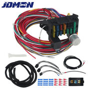 Car 12v Universal 12 Circuit Wiring Harness 12 Fuses Fit For Hot Rod Street Rod