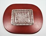 Antique Sculptured Glass Cigarette Holder Lid Is Ash Tray 3 1/2 X 2 5/8 X 2