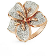 New Ring Russian Solid Rose Gold 14k 585 Flower Diamond 5g Fine Jewelry Rose