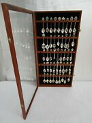 Vintage Large Display Case Of Collectors Spoons Of British Towns / Isles Royals
