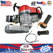 Engine Motor 49 Cc 2 Stroke + Throttle Grips And Cable For Pocket Bike Mini Dirt