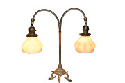 Antique Double Student Lamp With Quezell Shades, 1920's