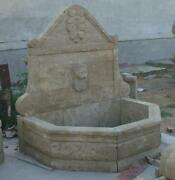 Hand Carved Marble Lion Wall Fountain From Gray Solid Block 62 Tall