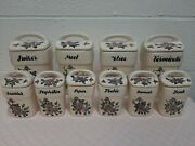 10 Antique Delft Spice Jars Dutch Crackle Ceramic Lidded Canisters/containers