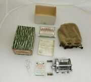 Vintage Pflueger Summit 1993l Fishing Reel W/ Bag, Box, Wrench, Papers.