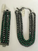 Kenneth Cole New York Urban Faceted Green Crystal Hematite Necklace Bracelet New