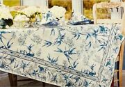 April Cornell Bamboo Garden Floral Tablecloth Blue/green /ivory 60x120 Oblong