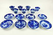 7 Antique Flow Blue Teacups And 8 Saucers Various Makers Scinde Davenport Amoy