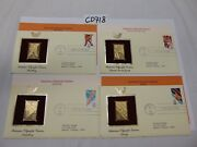 Postal Commemorative Society Gold Stamp Replica-1984-summer Olympics Lot Of 4