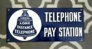 Pay Telephone Station Porcelain Coat Sign Home Office Decor