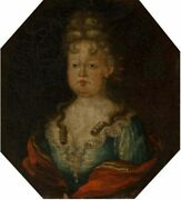 Old Master 18th Century Antique Portrait Painting Of A Young Princess C 1780