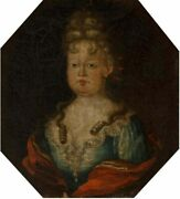 Old Master 18th Century Antique Portrait Painting Of A Young Princess, C 1780
