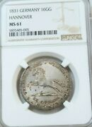 1831 Germany Silver 16 Gute Groschen Hannover Ngc Ms 61 Very Scarce High Grade