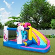 Unicorn Inflatable Bounce House Bouncer Castle Water Slide With Pool And Blower