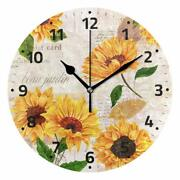 Nice Wall Clock 9.5 Floral Sunflower Nature Vintage Style Shabby Chic Farmhouse