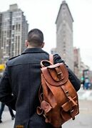 Real Leather Handmade Mens Travel Briefcase Computer Womens Backpack
