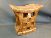 Antique Small Stool Sculpture On Wood Art Ethnic Wood Precious Exotic
