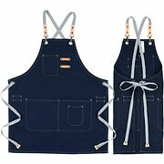 Cotton Apron For Men Women Chef Bbq Grill Work Shop Aprons With Adjustable Home