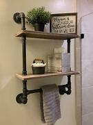 Industrial Style Metal Pipe And Wood Shelf W/ 2 Shelves Vintage Look Decor Piece