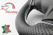 For Austin A55 Van 57-63 Black Perf Leather Steering Wheel Cover, White 2 Stit