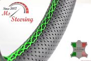 For Austin A55 Van 57-63 Black Perf Leather Steering Wheel Cover, Green 2 Stit