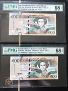 2015 East Caribbean State 100 Dollars Two Notes P-55b Pmg-68 Epq Rare