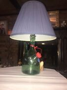 Vtg Lamp Hand Blown Green Glass Wine Bottle Decanter With Ice Chamber From Italy