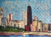 Chicago With John Hancock Building Pop Art Mix Media Painting On Canvas