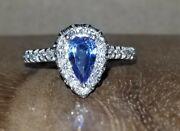 14k White Gold Natural Pear Shape Blue Sapphire Engagement Ring 1.25ct