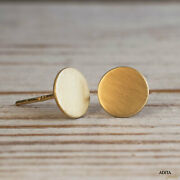 14k Solid Yellow Gold Small 6mm Circle Handmade Stud Earrings Thanksgiving Sale