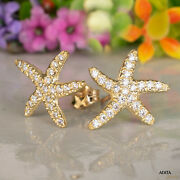 14k Solid Yellow Gold Starfish Handmade Earrings With White Cz Thanksgiving Sale
