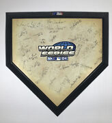 2004 World Series Boston Red Sox Team Signed Mini Home Plate 26 Signatures