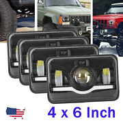 300w Led 4x6 Rectangular Projector Halo Led Headlights High Low Beam Drl Lamps