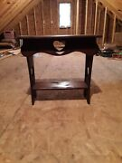 Country Antique Vintage Carved Heart Side Table Night Stand Plant Stand