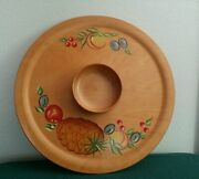 Vintage Woodcroftery 16 Chip N' Dip Fruit Platter With Bowl - Painted Pineapple