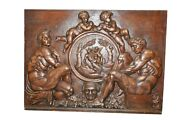 Spectacular Antique French Panel Hand Carved Detail Cherubs Large 19th Century