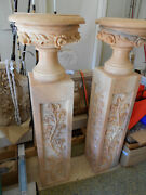 Marble Pedestals Pair Hand Made And Custom Carved Each Has 3 Pieces