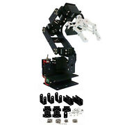Aluminum 6-axis Mechanical Robotic Arm Clamp Claw Mount Kit For Arduino Black