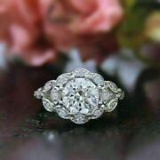 Round Cut Vintage Engagement Rings Flower Shape In 925 Sterling Silver For Women