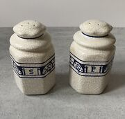 """Rare Dedham The Potting Shed Large Salt And Pepper Shakers 5"""" Signed Rabbits"""