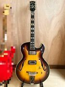 Teisco Excetro 1960-1970s Semi Hollow Sunburst Guitar Shipped From Japan