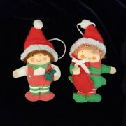 Vintage Avon Christmas Elf Pin Thick Puffy Ornament Red Green 1987 Jewelry Lot 2