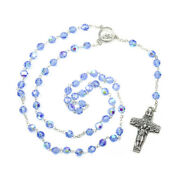 Blue Faceted Crystal Rosary Beads With Pope Francis