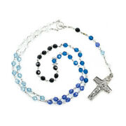 Sterling Silver Rosary In Blue Shades Crystal Beads